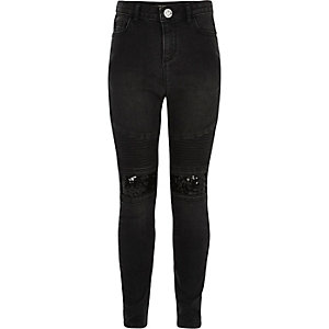 Girls black Amelie sequin biker jeans