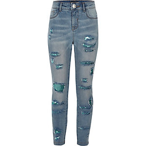 Girls blue sequin super skinny Amelie jeans