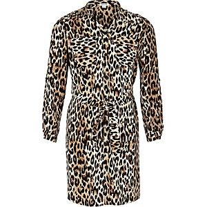 Girls leopard print shirt dress