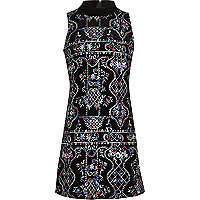 Girls black embroidered turtleneck dress