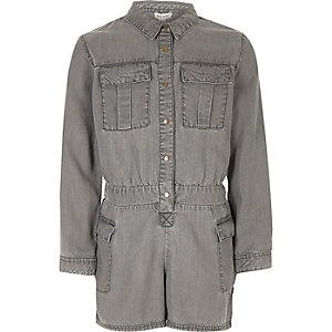 Girls grey soft denim romper