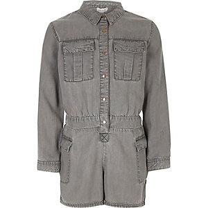 Combi-short en jean doux gris pour fille