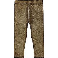 Mini girls metallic gold leggings