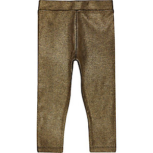Mini girls metallic gold leggings