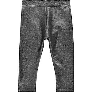 Mini girls metallic grey leggings