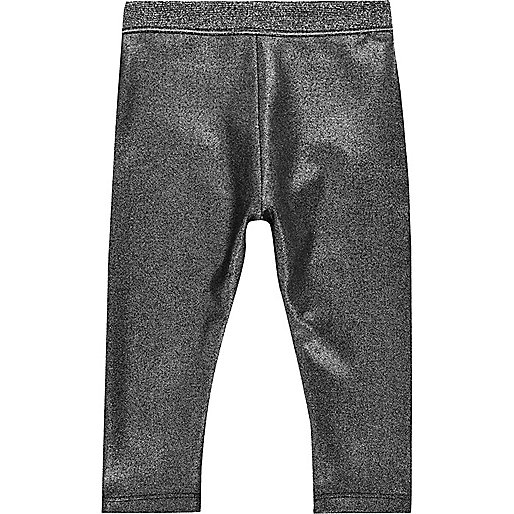 Mini girls metallic grey leggings