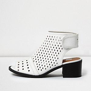 Girls white laser cut shoe boots