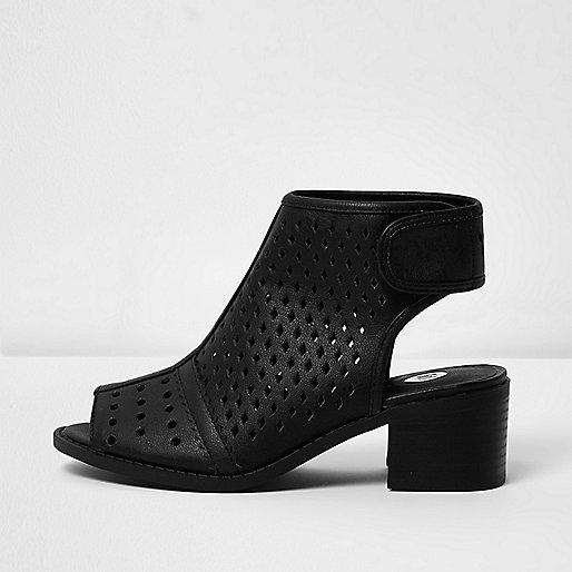 Girls  black laser cut shoe boots