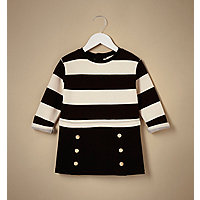 Mini girls black stripe 2 in 1 dress