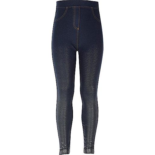 Legging taille haute aspect jean métallisé fille