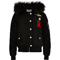 Girls black badge hooded bomber jacket