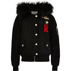 Zwart bomberjack met badge en capuchon voor meisjes
