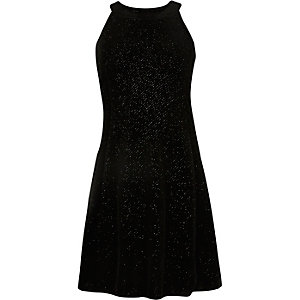 Girls black sparkly velvet dress