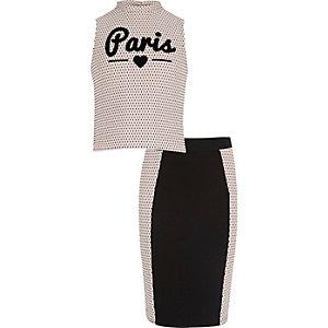 Girls light pink top and tube skirt set