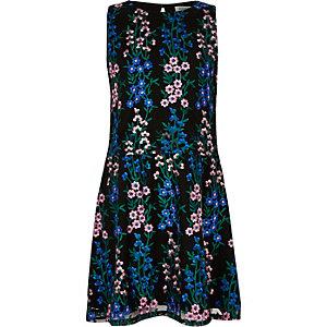 Blauwe geborduurde jurk met bloemenprint voor meisjes