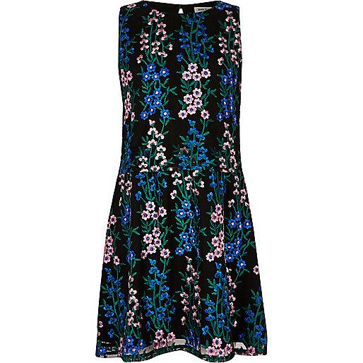 Girls blue floral embroidered dress
