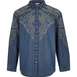 Blauw denim overhemd met studs voor meisjes