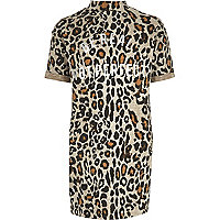 Girls brown leopard print cocoon dress