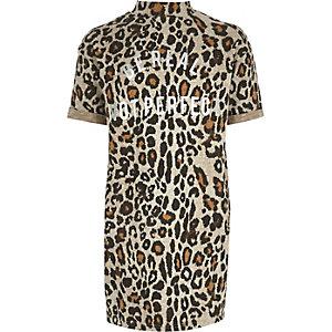 Braunes Kokon-Kleid mit Leopardenmuster