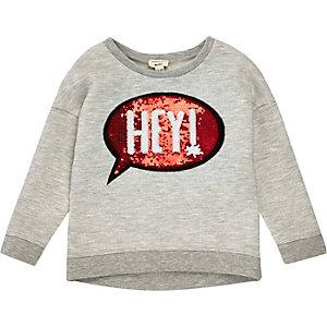 Grijze pullover met lovertjes en print voor mini girls