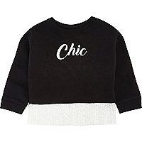 Mini girls black print lace hem sweatshirt