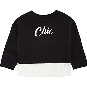 Mini girls black print lace hem sweatshirt