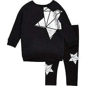 Mini girls black metallic star sweat set