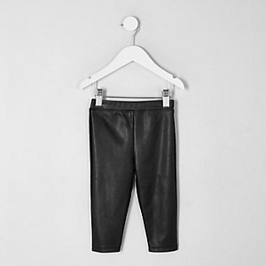 Mini girls black faux leather front leggings