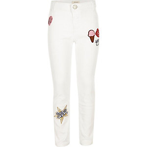Girls white badge Molly jeggings