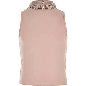 Girls pink embellished collar tank top