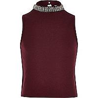 Girls burgundy embellished collar tank top
