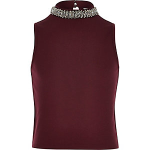 Girls burgundy embellished collar tank top