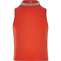 Girls red embellished collar tank top