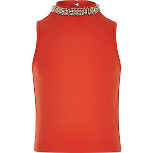 Girls red embellished collar tank top