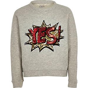 Girls light grey sequin sweatshirt