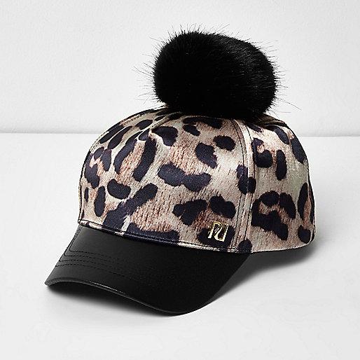 Girls leopard print pom pom cap