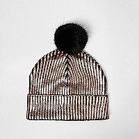 Girls bronze metallic knit bobble hat