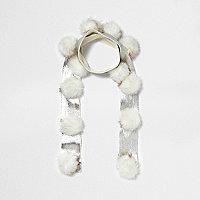 Girl cream metallic knit pom pom scarf