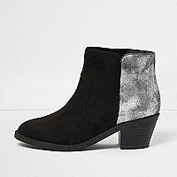 Girls black croc heel western boots