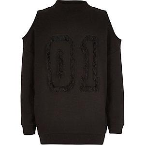 Girls black tassel cold shoulder sweatshirt