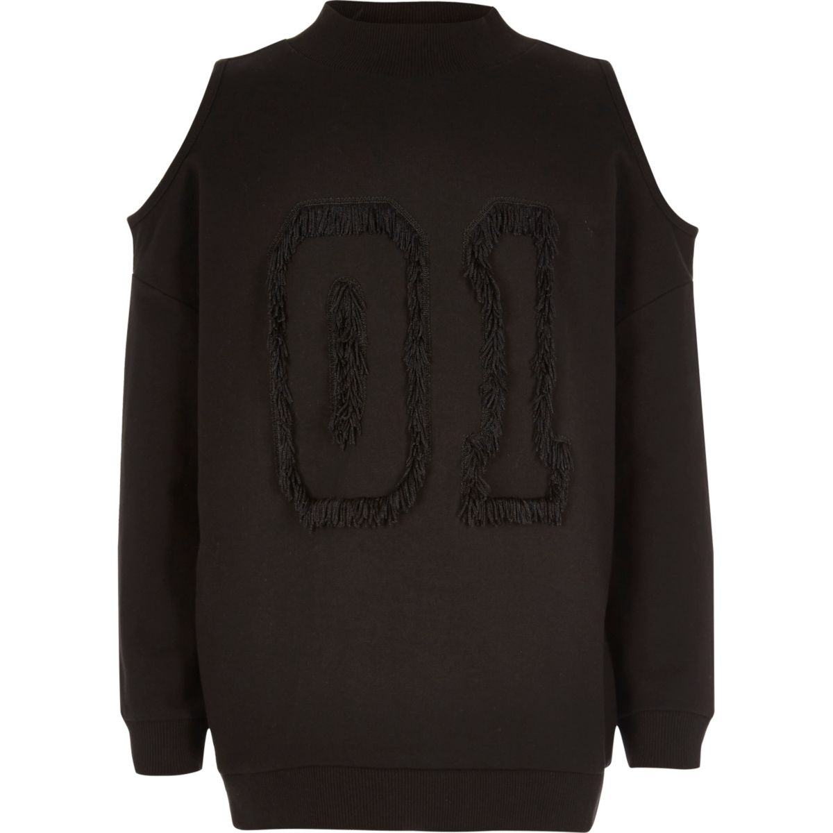 Girls black tassel cold shoulder sweatshirt
