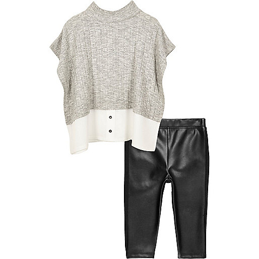 Ensemble legging et top gris mini fille