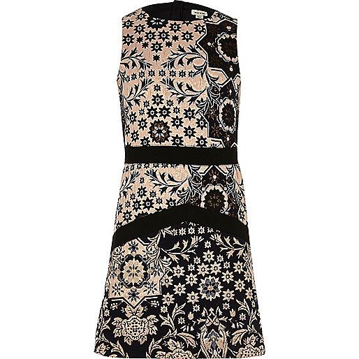 Girls blue jacquard print A-line dress