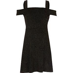 Girls black velvet stud bardot dress