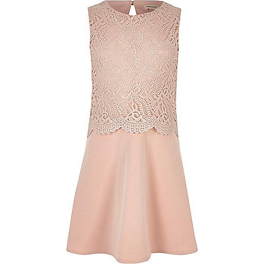 Girls cream metallic layered dress