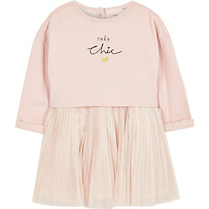 Mini girls pink pleated sweater dress