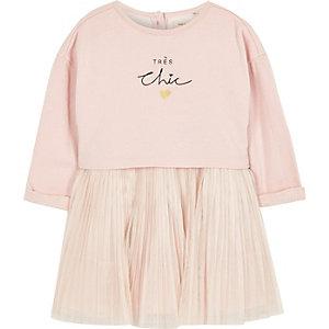 Robe pull plissée rose pour mini fille