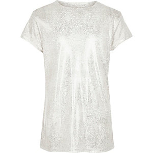 Girls silver metallic print T-shirt