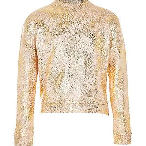 Girls rose gold metallic sweatshirt