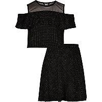 Girls black stud mesh crop top and skirt